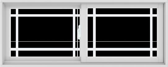 WDMA 60X24 (59.5 x 23.5 inch) White uPVC/Vinyl Sliding Window with Prairie Grilles