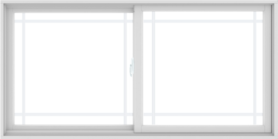 WDMA 72X36 (71.5 x 35.5 inch) White uPVC/Vinyl Sliding Window with Prairie Grilles