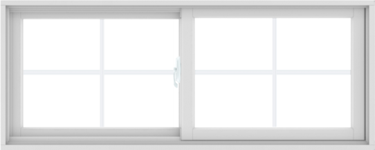 WDMA 60X24 (59.5 x 23.5 inch) White uPVC/Vinyl Sliding Window with Colonial Grilles