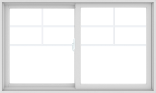 WDMA 60X36 (59.5 x 35.5 inch) White uPVC/Vinyl Sliding Window with Top Colonial Grids Grilles