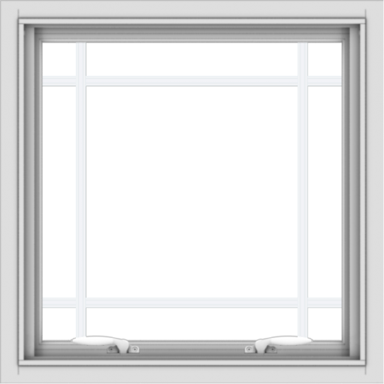 WDMA 24x24 (23.5 x 23.5 inch) White uPVC/Vinyl Push out Awning Window with Prairie Grilles