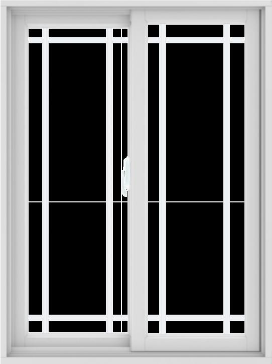 WDMA 36X48 (35.5 x 47.5 inch) White uPVC/Vinyl Sliding Window with Prairie Grilles