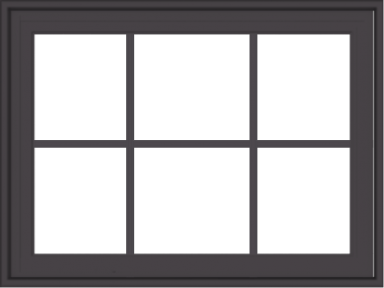 WDMA 32x24 (31.5 x 23.5 inch) Pine Wood Dark Grey Aluminum Crank out Casement Window with Colonial Grids Exterior