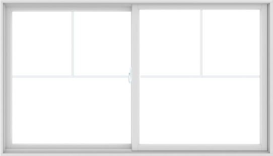 WDMA 84X48 (83.5 x 47.5 inch) White uPVC/Vinyl Sliding Window with Fractional Grilles