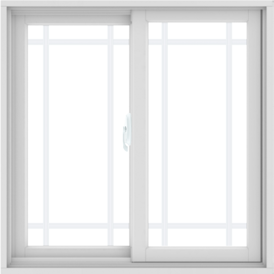 WDMA 36X36 (35.5 x 35.5 inch) White uPVC/Vinyl Sliding Window with Prairie Grilles