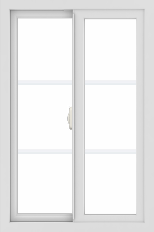 WDMA 24x36 (23.5 x 35.5 inch) black uPVC/Vinyl Slide Window with Colonial Grilles Interior
