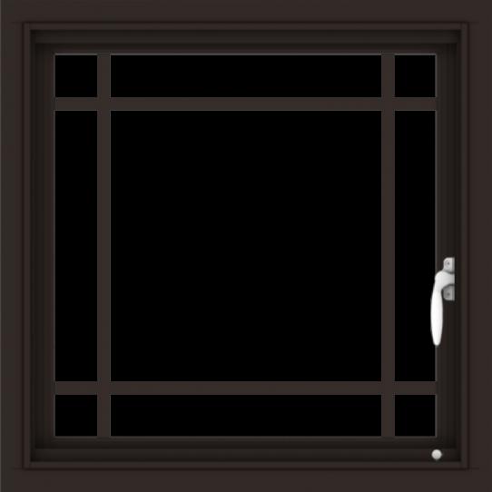 WDMA 24x24 (23.5 x 23.5 inch) Dark Bronze Aluminum Push out Casement Window with Prairie Grilles