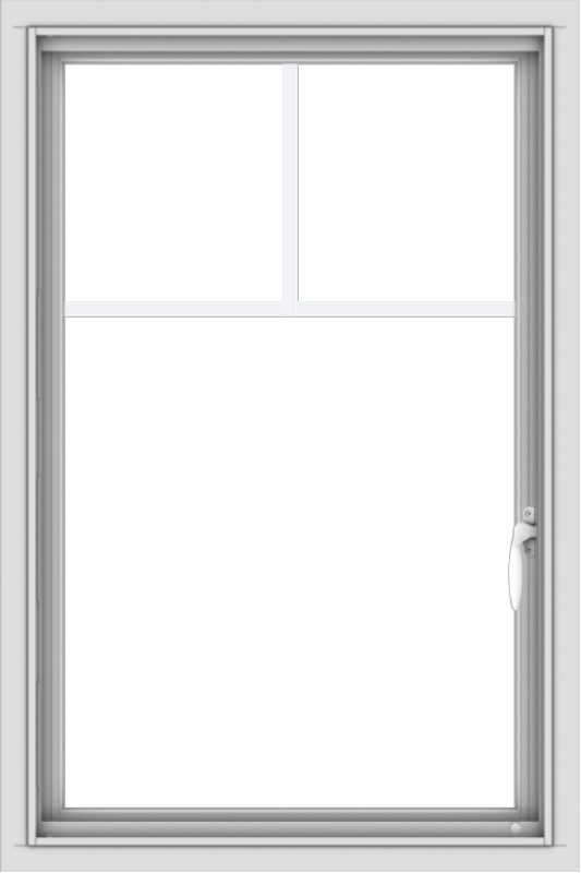WDMA 24x36 (24.5 x 36.5 inch) White uPVC/Vinyl Push out Casement Window with Fractional Grilles