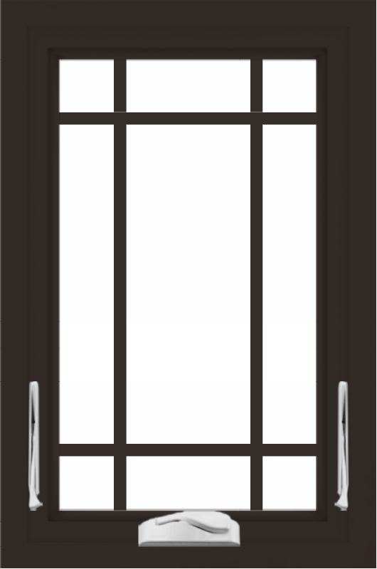WDMA 24x36 (23.5 x 35.5 inch) Dark Bronze aluminum Crank out Awning Window with Prairie Grilles