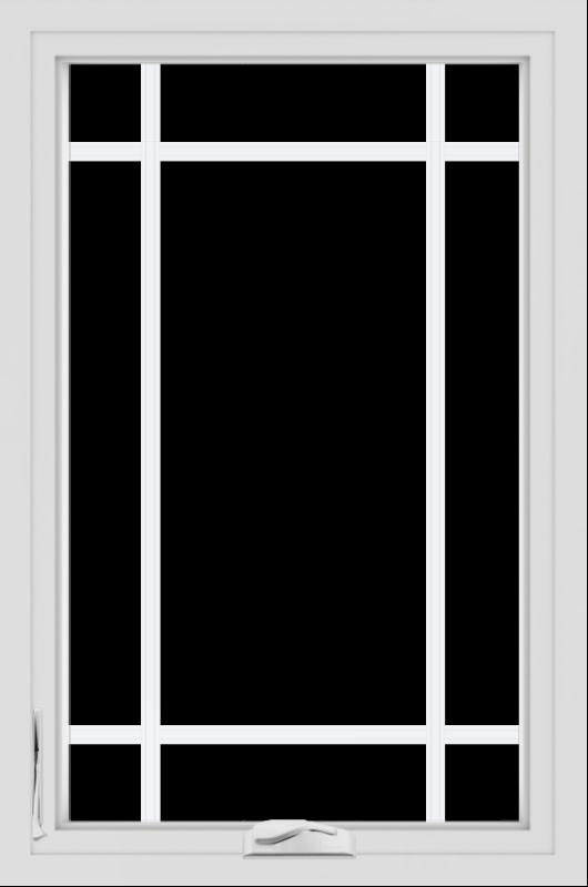 WDMA 24x36 (24.5 x 36.5 inch) White uPVC/Vinyl Crank out Casement Window with Prairie Grilles