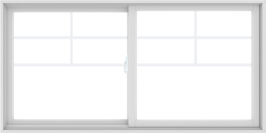 WDMA 72X36 (71.5 x 35.5 inch) White uPVC/Vinyl Sliding Window with Top Colonial Grids Grilles