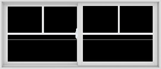 WDMA 84X36 (83.5 x 35.5 inch) White uPVC/Vinyl Sliding Window with Fractional Grilles