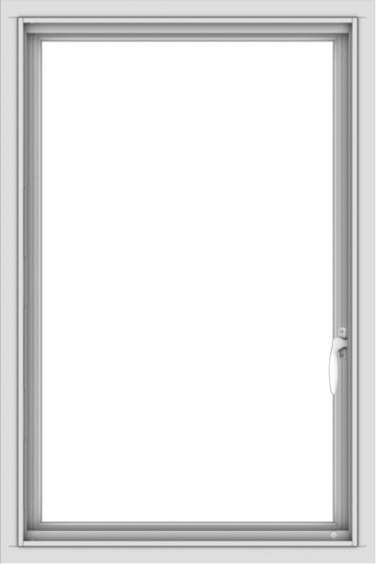WDMA 24x36 (23.5 x 35.5 inch) White aluminum Push out Casement Window without Grids Interior