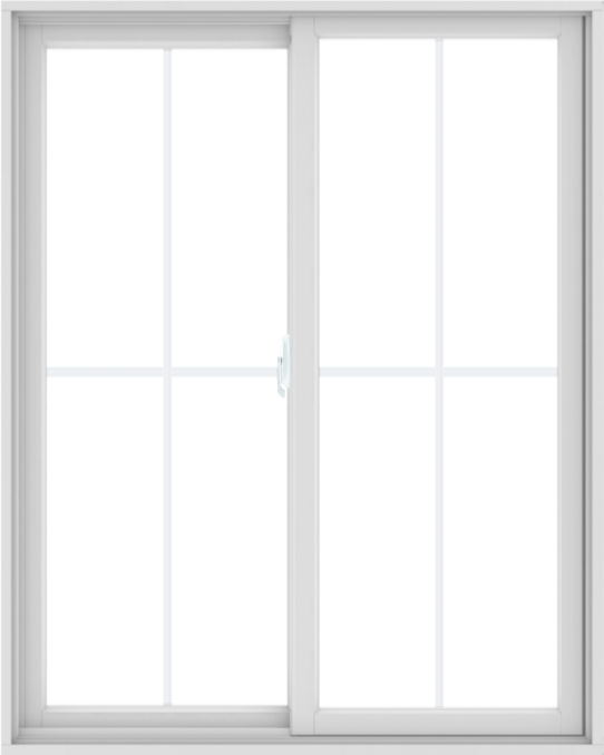 WDMA 48X60 (47.5 x 59.5 inch) White uPVC/Vinyl Sliding Window with Colonial Grilles