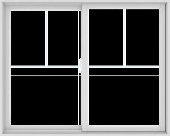 WDMA 60X48 (59.5 x 47.5 inch) White uPVC/Vinyl Sliding Window with Fractional Grilles
