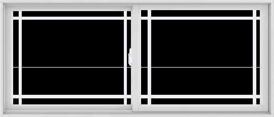 WDMA 84X36 (83.5 x 35.5 inch) White uPVC/Vinyl Sliding Window with Prairie Grilles