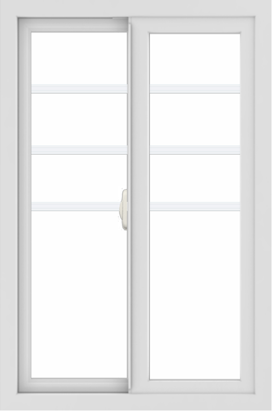 WDMA 24x36 (24.5 x 36.5 inch) White uPVC/Vinyl Slide Window with Top Colonial Grids