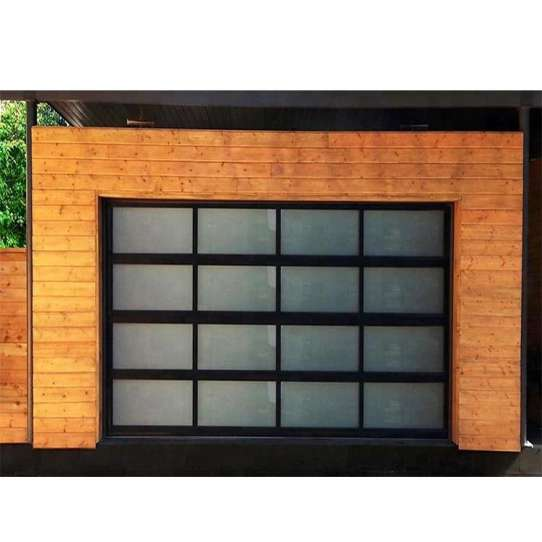 China WDMA 16x7 Automatic Galvanized Steel Flap Style Frosted Glass Garage Door Prices Remote Control