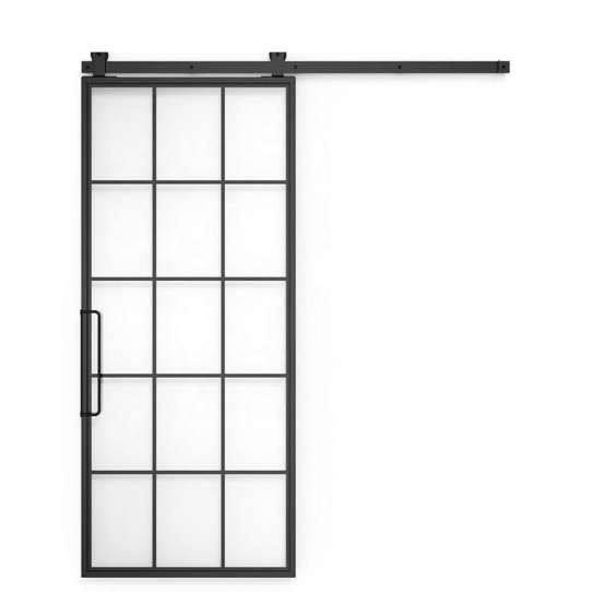 WDMA 36 In X 84 In Mountain French Steel And Clear Full Lite Glass Sliding Barn Door With Hardware Kit And Left Hand Pull