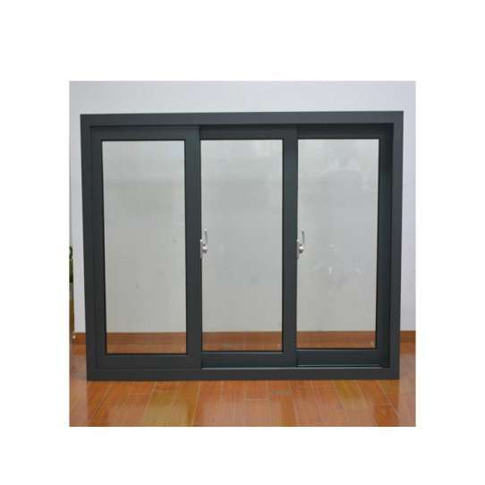WDMA Aluminium Brown Color Three Triple Panel Sliding Window