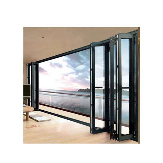 WDMA Aluminium Folding Door Black Stackable Aluminium Bi Folding Doors