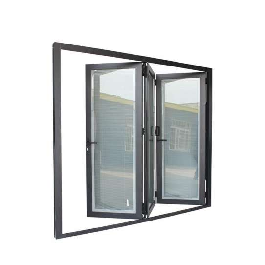 China WDMA Aluminium Folding Door Black Stackable Aluminium Bi Folding Doors
