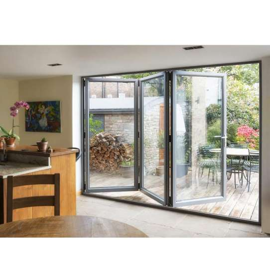 China WDMA Black Aluminium Bi Folding Doors
