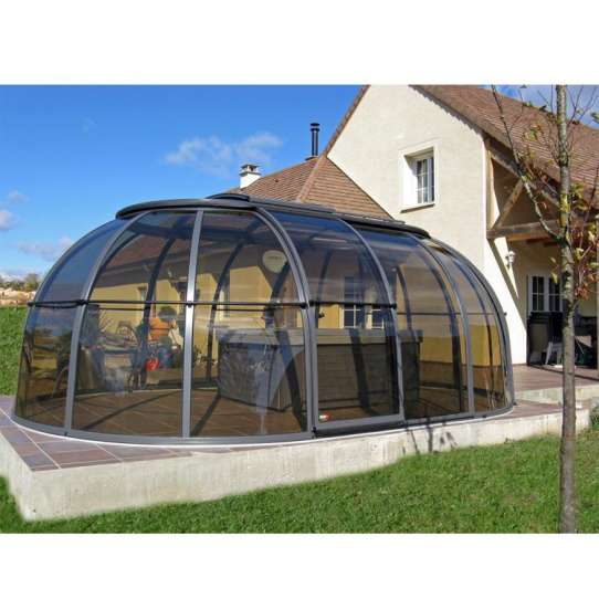 China WDMA glass sunroom with retractable roof for sale
