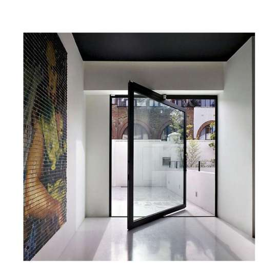 China WDMA Aluminium Pivot Front Doors Glass Metal Pivoting Entry Doors For Residential Entrance