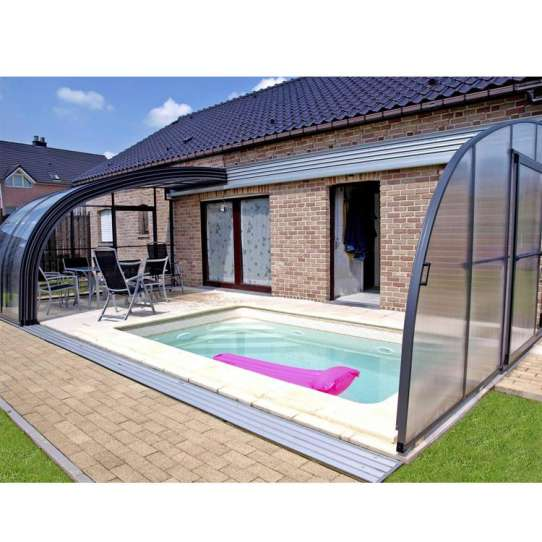 WDMA Aluminum Profile Glass Swimming Sunroom Pool Cover Enclosures With Retractable Roof For Sale