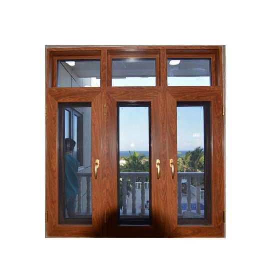 WDMA Aluminum Profile Solid Red Oak Wood Outward Opening Window With Grill Design