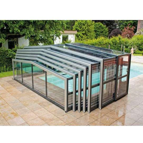 WDMA Aluminum Swimming Pool Cover Polycarbonate Low Level Sliding Pool Enclosure