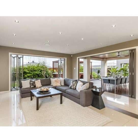 WDMA American Balcony Horizontal Heavy Duty Tempered Glass Bi Folding Doors Hotel Design