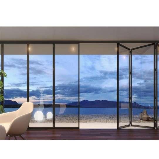 China WDMA American Balcony Horizontal Heavy Duty Tempered Glass Bi Folding Doors Hotel Design