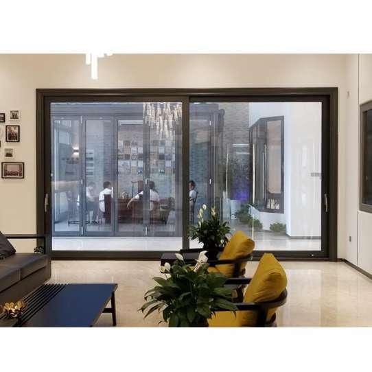 WDMA Automatic Sensor Patio Aluminum Large Tempered Glass Sliding Door System Price