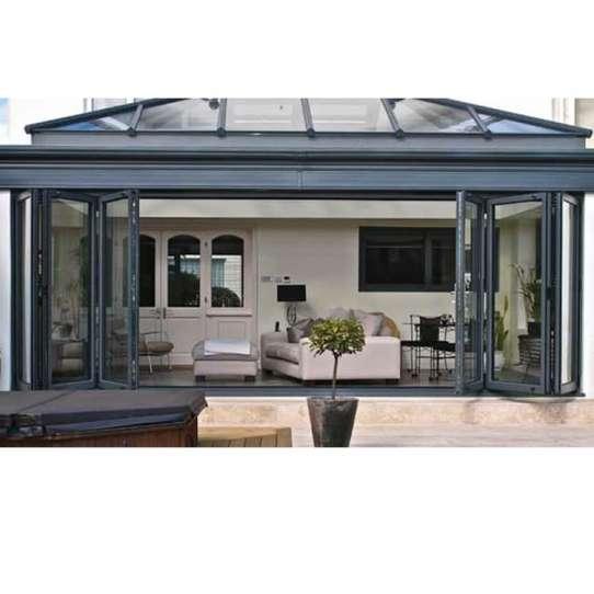 WDMA Bifold Aluminum Profile Frame Insulated Glass Entrance Bi Folding Accordion Restaurant Patio Entrance Door