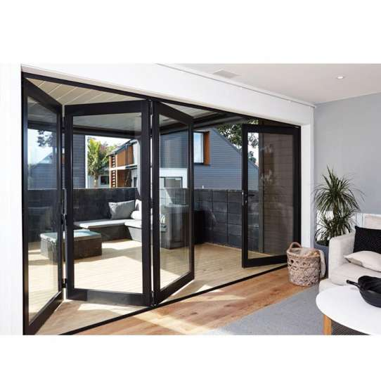 China WDMA Bifold Aluminum Profile Frame Insulated Glass Entrance Bi Folding Accordion Restaurant Patio Entrance Door