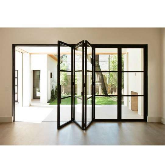 WDMA Cheap Thermal Break Double Large Glass Aluminium Alloy Interior Folding Lowe Glass Door
