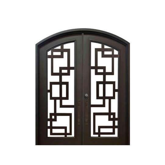 China WDMA Church Use Simple Design And Arched Top Laser Cut Iron Wrought Sheet Iron Double Door Models