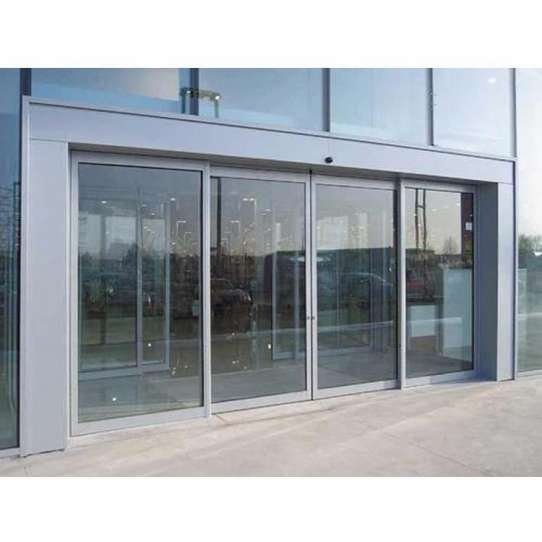 WDMA Commercial Automatic Sensor Aluminium Glass Sliding Front Door Telescopic Sliding Door
