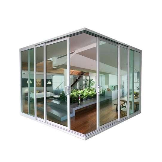China WDMA Exterior Conceal Stacking Sliding Door External Wall Balcony Slim Aluminium Corner Sliding Glass Door