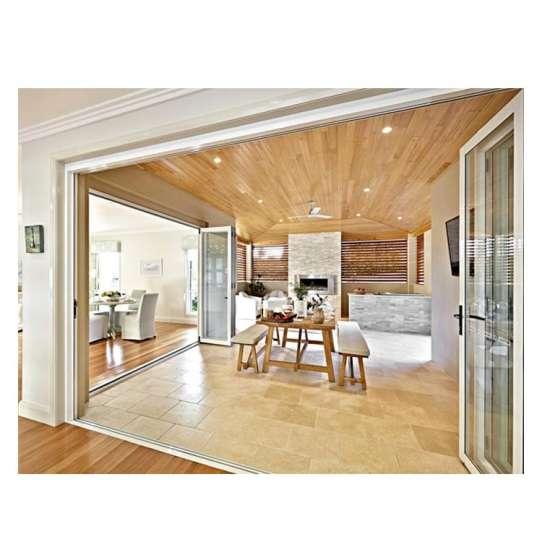China WDMA Exterior Drawing Room Aluminium Accordion Folding Glass Door System Price