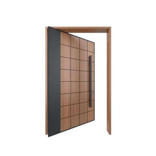 China WDMA External Solid Wooden Entrance Door Modern Pivot Main Door