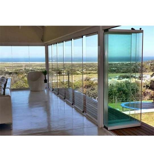 China WDMA Frameless Glass Interior Folding Door With Tempered Glass System