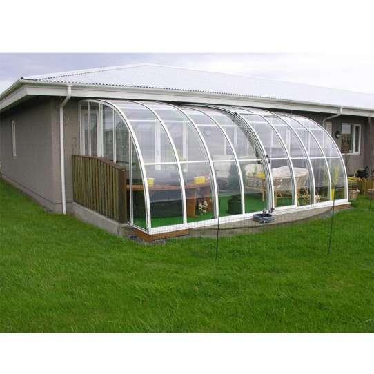 WDMA Free Standing Prefab Veranda Retractable Polycarbonate Swimming Pool Cover Aluminum Sunroom