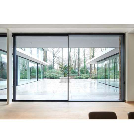 WDMA German Hardware Thermal Break Aluminum Finished Surface Exterior Balcony Sliding Stained Glass Door With Mosquito Net