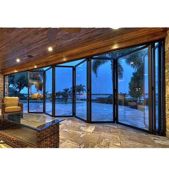 WDMA Good Quality Single Double Frameless Door System Glass Folding Door