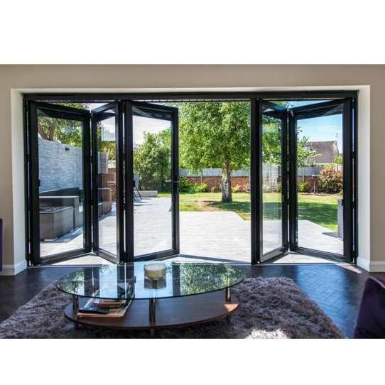 China WDMA Grey Aluminium Glazed Glass Panel Bifold Internal Doors