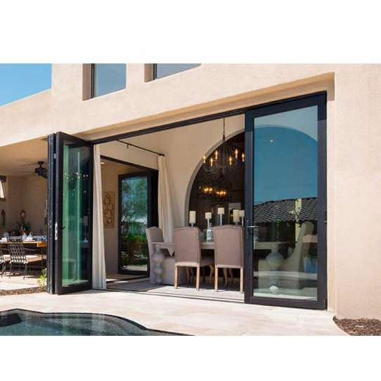 WDMA Grey Aluminum Large Folding Glass Front Doors For Inside Home