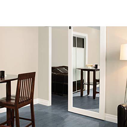 WDMA Hotel Sliding Barn Door Beveled Mirror Inlay Mdf Hanging Door